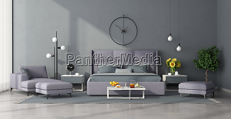 minimalist master bedroom with lilac furniture