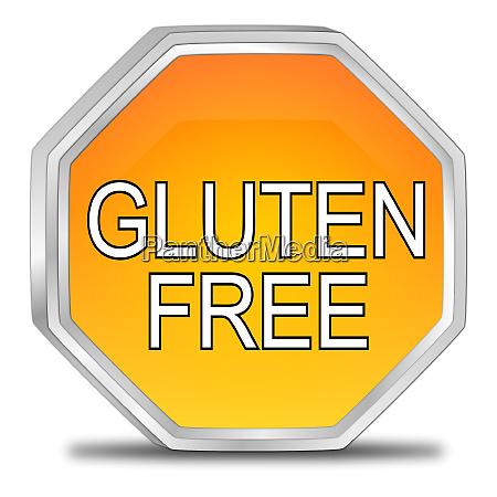 orange gluten free button 3d
