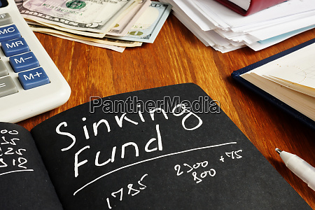 sinking fund sign on the page