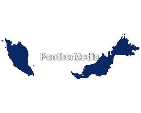 karte von malaysia in blauer farbe