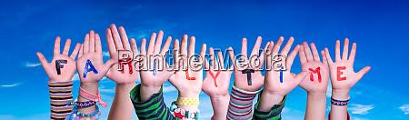 children hands building word familytime blue