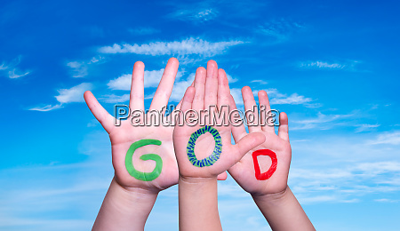 children hands building word god blue