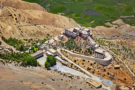 aerial view of ki gompa monastery