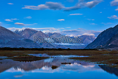 nubra valley in twilight ladah india