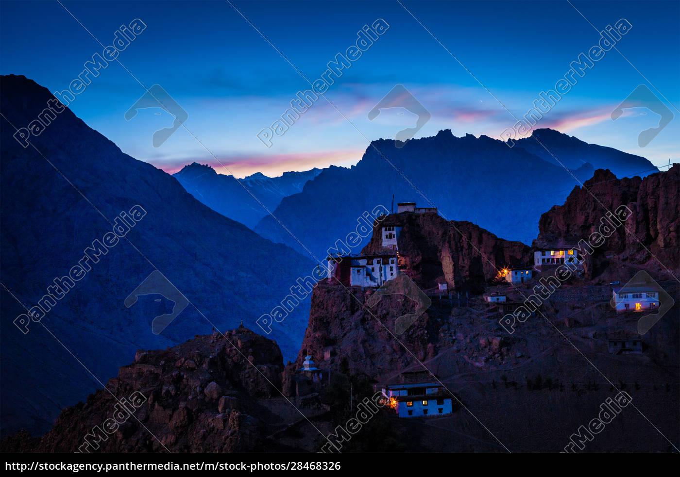 dhankar, gompa, in, twilight - 28468326