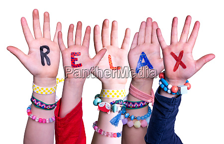 children hands building word relax isolated