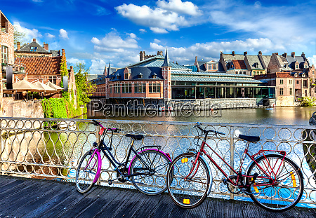 bridge bicycles and canal ghent belghium