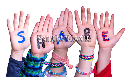 children hands building word share isolated