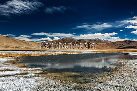 mountain lake tso kar in himalayas