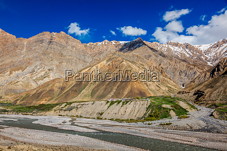 village in himalayas mountains pin valley
