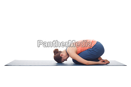 beautiful sporty fit yogi girl practices