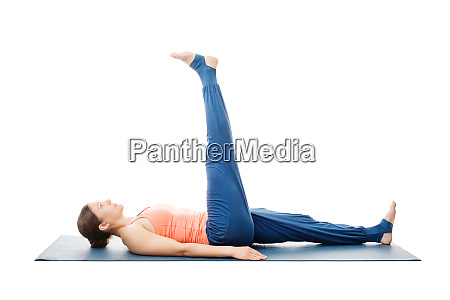 woman doing yoga asana uttanpadasana