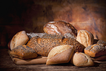 display of a bunch of breads