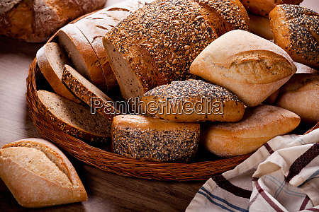 display of a variety of breads