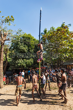 greasy pole climbing competition in village