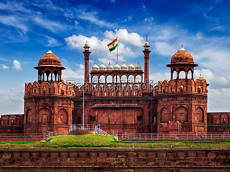 red fort lal qila with indian