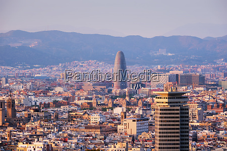 barcelona city on sunset spain