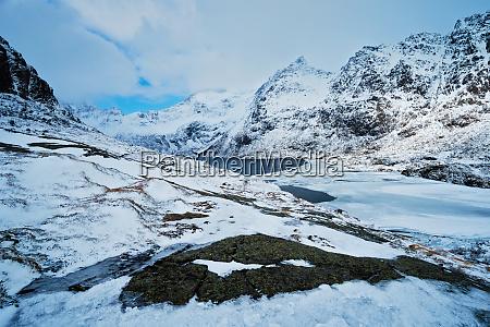 norwegian fjord in winter in norway