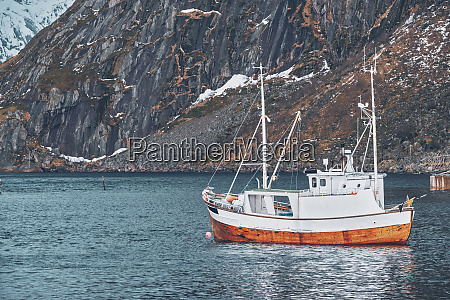 ship in hamnoy fishing village on