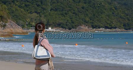 woman look at the sea