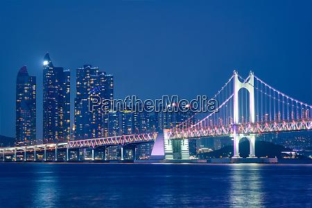 gwangan bridge and skyscrapers in the