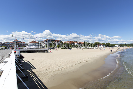 wooden sopot pier in sunny day