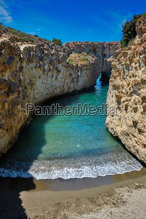 papafragas beach in milos island greece