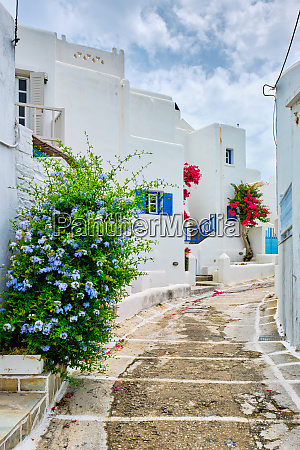 picturesque naousa town street on paros