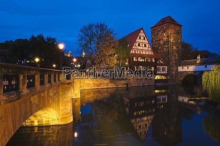 nuremberg city houses on riverside of