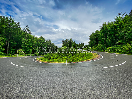 hairpin curve through forest