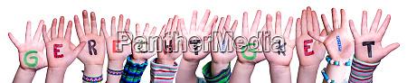 children hands building word gerechtigkeit means