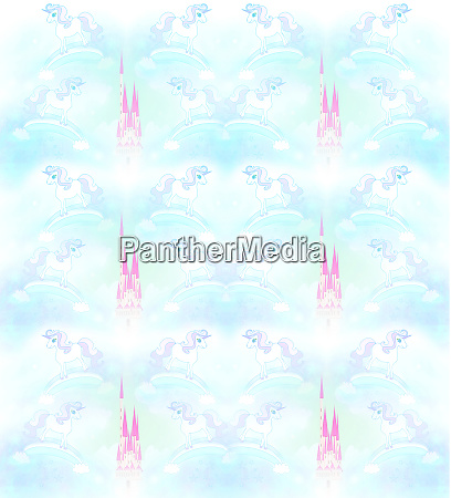 pastel pattern with unicorns and castles
