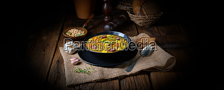 rustic pea soup with bacon and