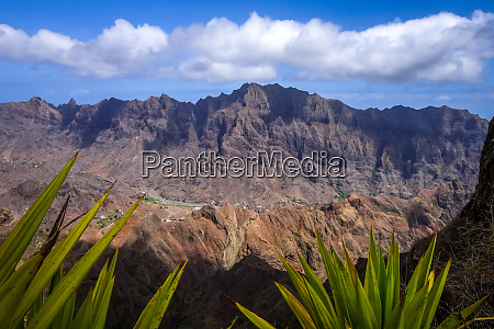 mountains landscape panoramic view in santo