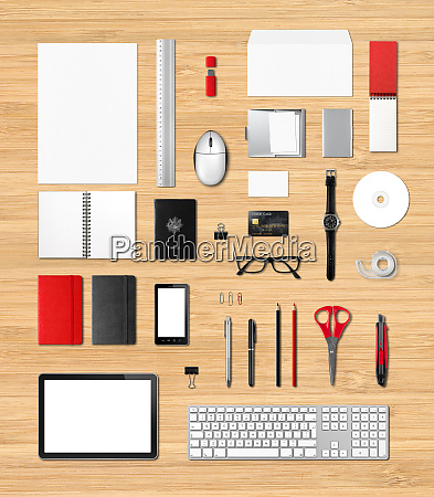 office supplies mockup template wooden background