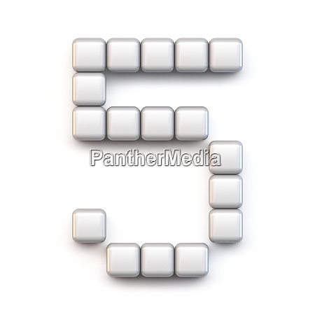 white cube pixel font number five