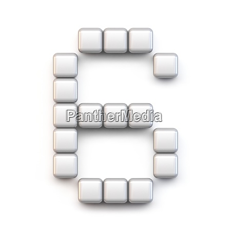 white cube pixel font number six