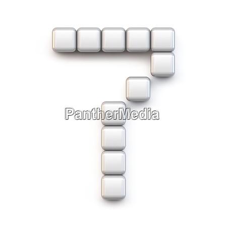 white cube pixel font number seven