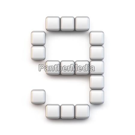 white cube pixel font number nine