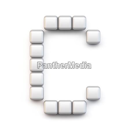 white cube pixel font letter c