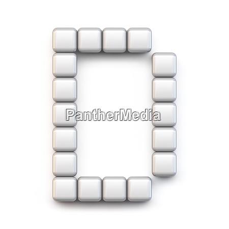 white cube pixel font letter d
