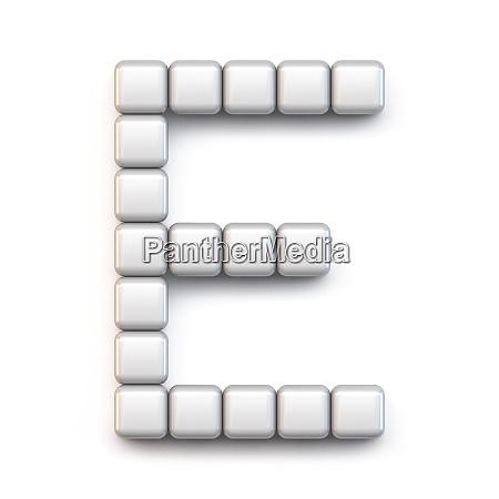 white cube pixel font letter e