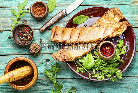 smoked pork ribs on a plate