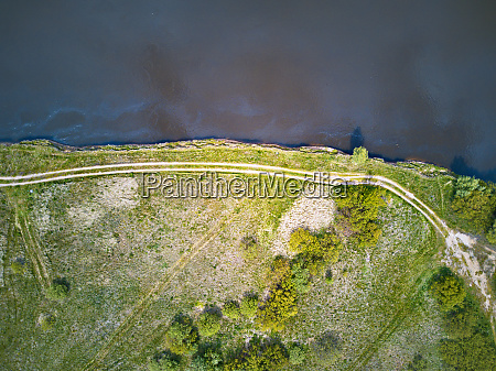 island on river dnepr top aerial