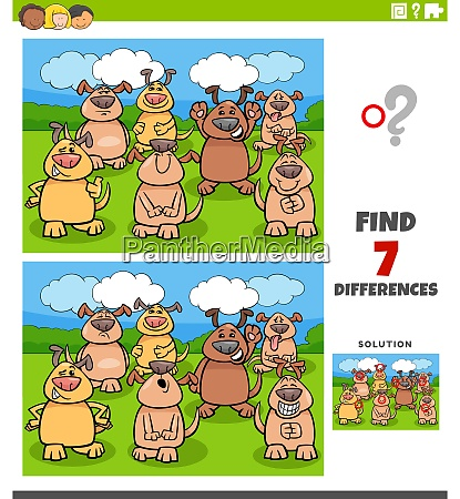 differences educational task with comic dogs