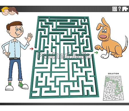 maze game with cartoon teen boy