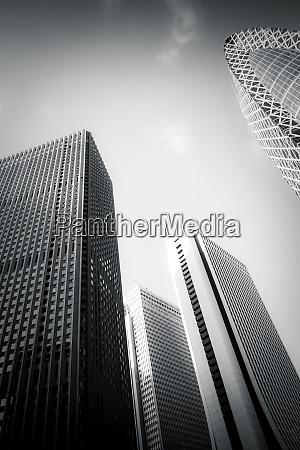 skyscrapers of shinjuku ku tokyo monochrome