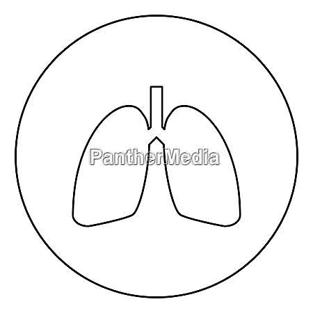 lungs human icon in circle round