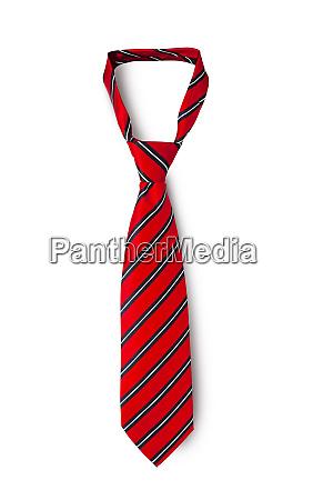 red mens striped tie taken off