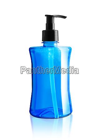 blue liquid soap in plastic pump